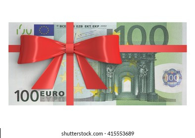 Wad of 100 Euro banknotes with red bow, gift concept. 3D rendering