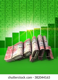Wads of folded stacks of hong kong dollar banknotes on a green digital stock market indicator board background with an increasing green bar graph