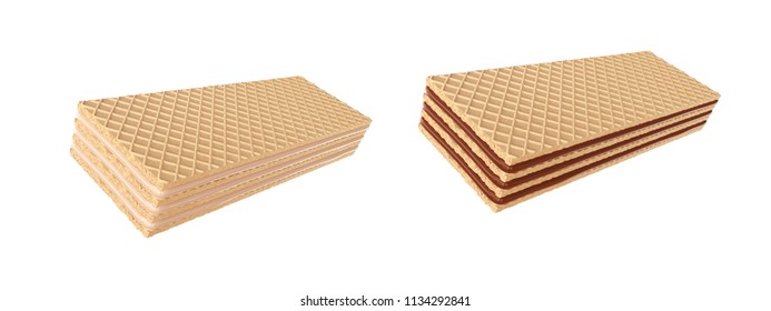 wafer chocolate and Milk, design element for Food product with Clipping path, 3d illustration.