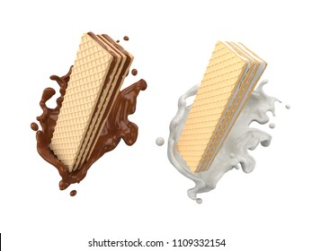 Wafer with chocolate and Milk Splash, Design element with Clipping path 3d illustration.