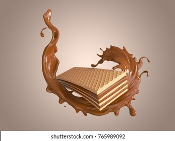 wafer with chocolate splash design element, include clipping path, 3d illustration.