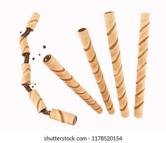 wafer cookie sticks With Cocoa or Chocolate, 3d illustration.