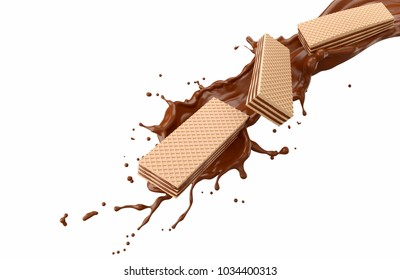 Wafer crisp Flow through the Chocolate splash, concept design for flavors and ingredients. with clipping path. 3D illustration.