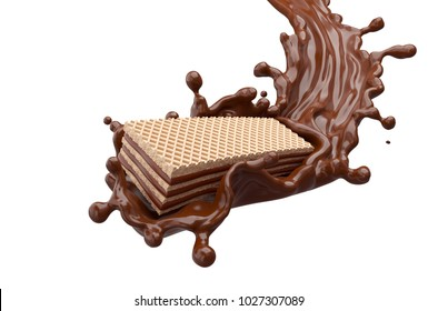 wafer Flavor with cream or Hot Chocolate Splash with Clipping path 3d illustration.