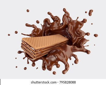 Wafers with chocolate Splash, Design element with Clipping path 3d illustration.