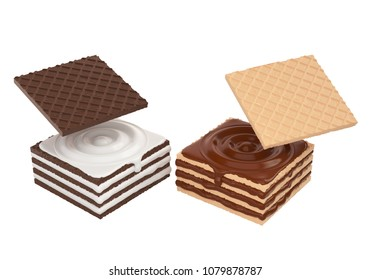 Wafers cubes with chocolate and Milk, Crispy Biscuit with Clipping path, 3d illustration.