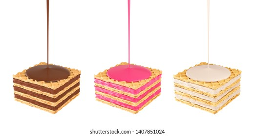 Wafers cubes with chocolate milk and strawberry cream, 3d rendering.