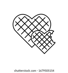Waffles, heart icon. Simple line, outline illustration elements of breakfast with love icons for ui and ux, website or mobile application