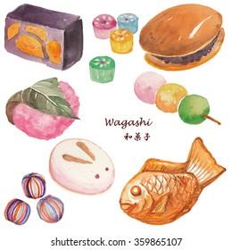 Wagashi, Japanese sweets, watercolor illustration