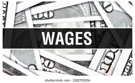 Wages Closeup Concept. American Dollars Cash Money,3D rendering. Wages at Dollar Banknote. Financial USA money banknote Commercial money investment profit concept