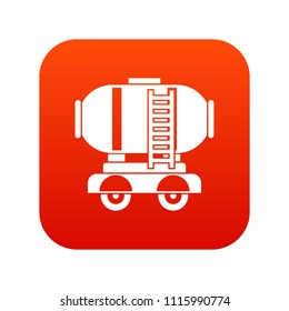 Waggon storage tank with oil icon digital red for any design isolated on white illustration