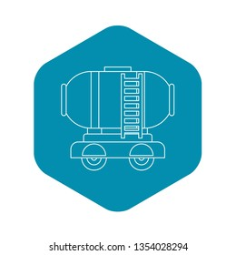 Waggon storage tank with oil icon. Outline illustration of waggon storage tank with oil icon for web