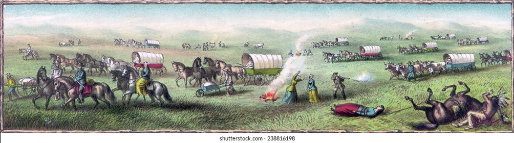 Wagon Train to the West. An imaginary scene of a wagon train with Indian attack. color lithograph, 1887