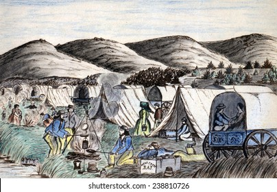 Wagon Train to the West. A wagon train of settlers camps on the Hymboldt River, Nevada Territory. Daniel Jenks, color drawing, 1859