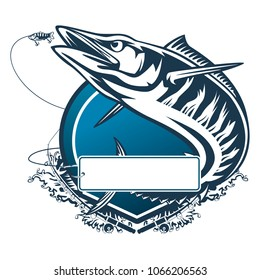 Wahoo fish. Fishing logo. Acanthocybium solandri. Scombrid fish jumping up fishing emblem on white background.