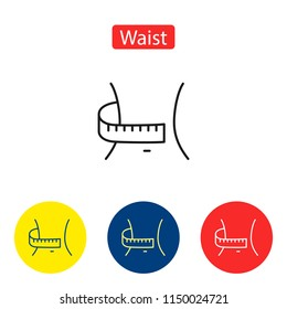 Waist flat icons. Slim fitness woman body with measuring tape. Weight loss diet waistline symbols in colorful circles  illustration for infographics design prints. Isolated on white background