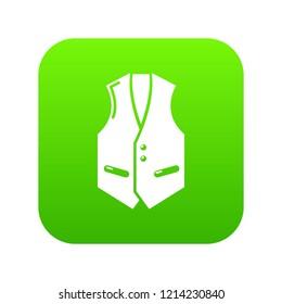 Waistcoat icon green isolated on white background