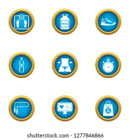 Waistline icons set. Flat set of 9 waistline icons for web isolated on white background