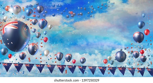Waitangi Day, National Day of New Zealand celebration banner showing lots of flag printed balloons flying in the rainbow sky, flags garland and confetti. 3D Illustration rendered in large format