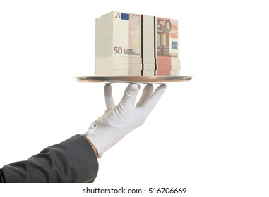 Waiter offering 50 euros banknotes in a tray, white background
