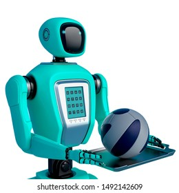 waiter robot holding a football ball side view, 3d illustration