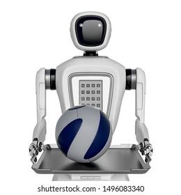 waiter robot holding a football ball, 3d illustration