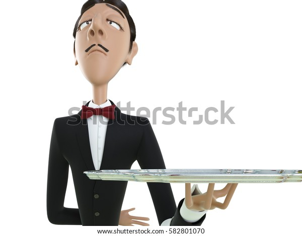 Waiter in tail-coat holding empty tray and napkin. 3d rendering