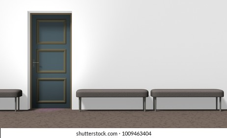 Waiting hall corridor with white wall, closed door on the left, brown floor with crackle pattern, and three backless upholstered benches. Horizontal 16:9 interior 3d render.