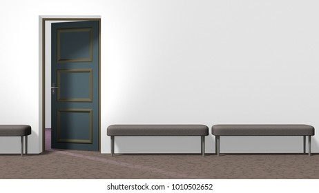 Waiting hall corridor with white wall, open door on the left, brown floor with crackle pattern, and three backless upholstered benches. Horizontal 16:9 interior 3d render.