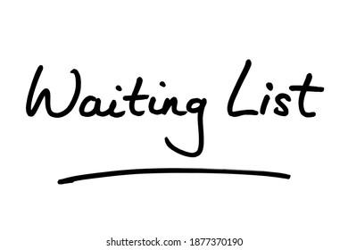 Waiting List handwritten on a white background.