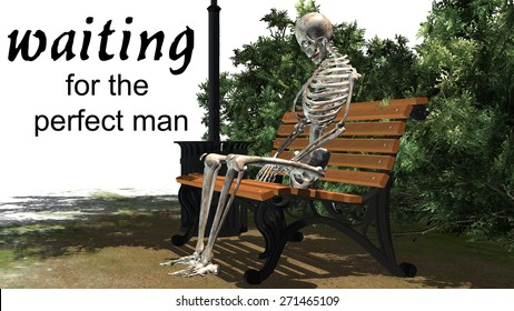 waiting for the perfect man - woman skeleton sitting on Park bench under a tree