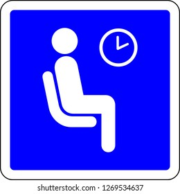 Waiting room available blue sign