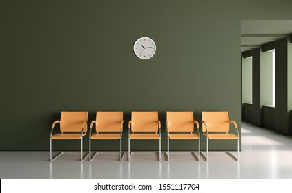 Waiting room space on corridor with large windows in clinic 3D render