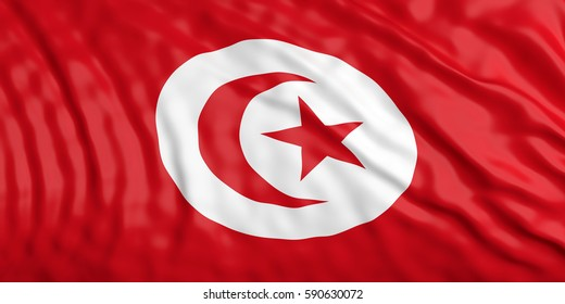 Waiving in the wind flag of Tunisia. 3d illustration