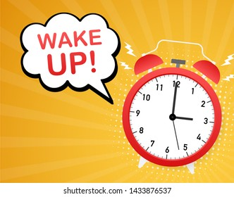 Wake up poster with alarm clock. stock illustration.