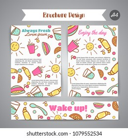 Wake up slogan on brochure. Breakfast menu for cafe illustration. Always fresh text. Cafe, bakery concept. Coffeee and tea time.