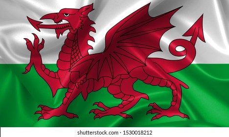 wales flag country symbol illustration