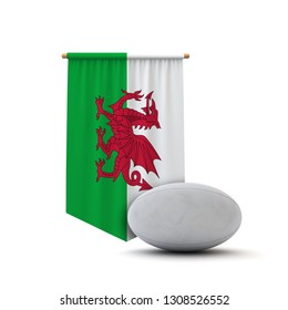 Wales flag rugby ball banner. 3D Rendering