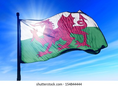 Wales flag waving on the wind