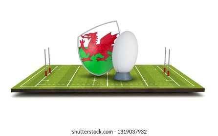 Wales rugby shield flag icon with rugby ball. 3D Render