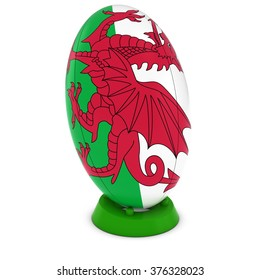 Wales Rugby - Welsh Flag on Standing Rugby Ball