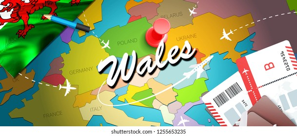 Wales travel concept map background with planes,tickets. Visit Wales travel and tourism destination concept. Wales flag on map. Planes and flights to Welsh holidays to Cardiff,Swansea