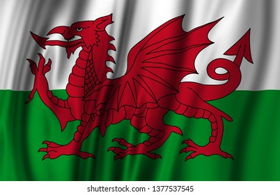 Wales waving flag illustration. Countries of Europe. Perfect for background and texture usage.