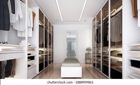 Walk in closet interior design-3d rendering