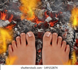 Walk on fire as a life and culture concept of the power of faith and mind over matter as a rite of passage ritual and ancient tradition walking over hot burning coals with fire flames and smoke.