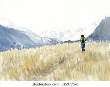 Walk through field watercolor painting