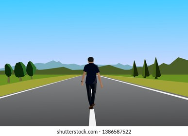 walking alone on a silent road