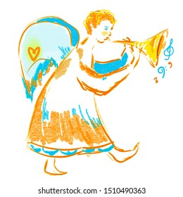 Walking angel with golden trumpet, blue wings. Bright yellow, golden, blue colors. Festive motifs of love, happy for New year, Merry Christmas. Music notes. Lovely character design for greetings card