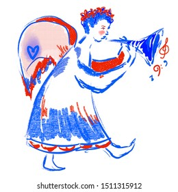 Walking angel with trumpet, wreath on the head. Bright red, blue colors. Festive motifs of love, happy for New year, Merry Christmas. Music notes. Lovely character design for greetings card