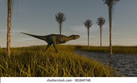 walking aucasaurus in sunset light